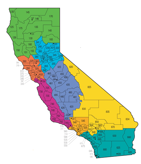a visual representation of the geographic areas of responsibility for each CHP area offices across California.